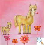 tableau chambre bébé poney fleurs